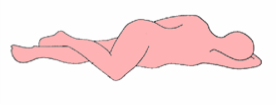 If you are right handed, assume a left side-lying position and bring your right knee towards your chest. If left handed, lie on the right side and raise your left knee instead.